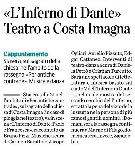 L'Inferno di Dante. Teatro a Costa Imagna