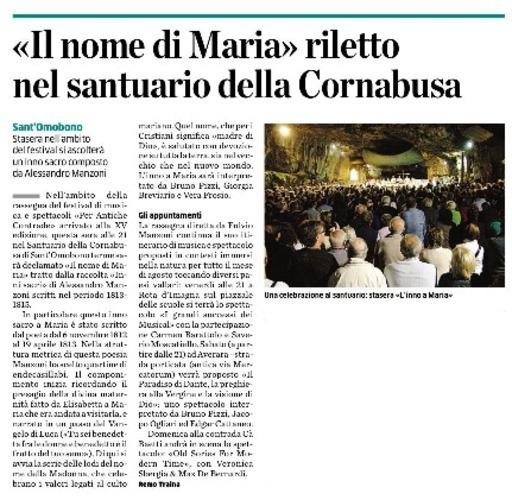 Il nome di Maria riletto nel santuario della Cornabusa