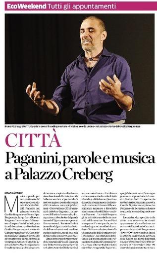 Paganini, parole e musica a Palazzo Creberg