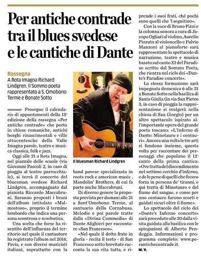 Per antiche contrade tra il blues svedese e le cantiche di Dante
