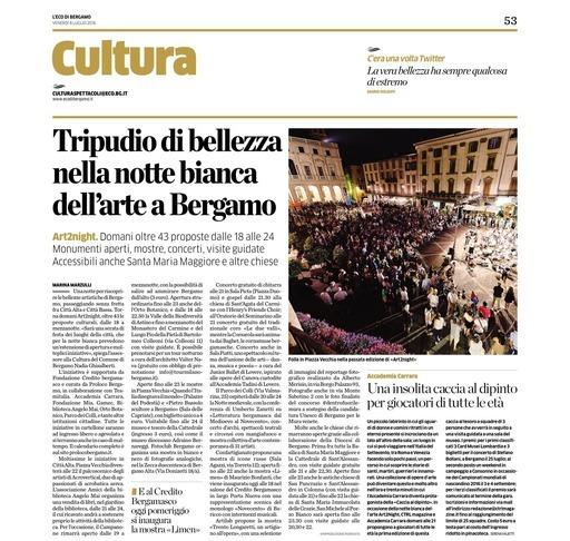 Tripudio di bellezza nella notte bianca di Bergamo