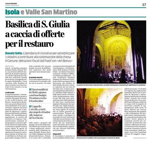 Basilica di S. Giulia a caccia di offerte per il restauro