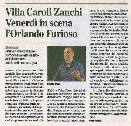 Villa Caroli Zanchi: venerdì in scena l'Orlando furioso