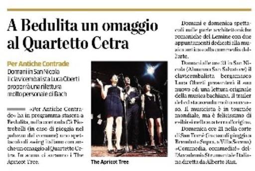 A Bedulita un omaggio al Quartetto Cetra